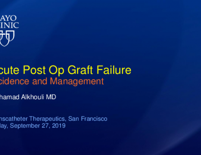 Acute Post-Op Graft Failure: Incidence and Management