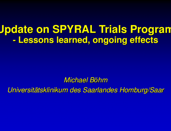 Update on SPRYRAL Trials Program (Radiofrequency Renal Denervation): Lessons Learned, Ongoing Efforts