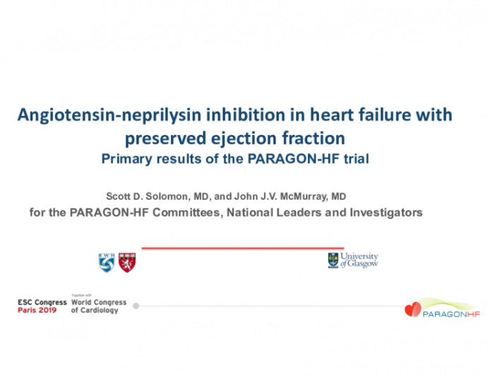 Angiotensin-neprilysin inhibition in heart failure with preserved ejection fraction Primary results of the PARAGON-HF trial