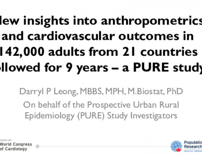PURE Sturdy: New insights into anthropometrics and cardiovascular outcomes in 142,000 adults from 21 countries followed for 9 years