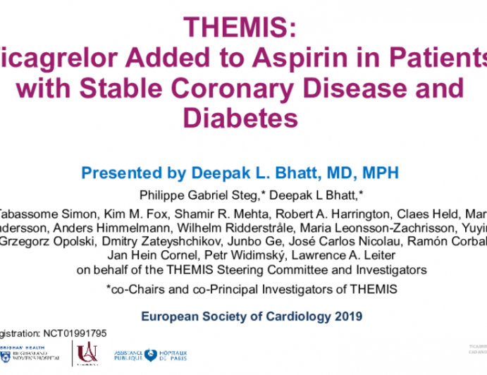 THEMIS: Ticagrelor Added to Aspirin in Patients with Stable Coronary Disease and Diabetes