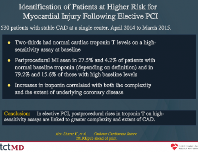 Identification of Patients at Higher Risk for Myocardial Injury Following Elective PCI