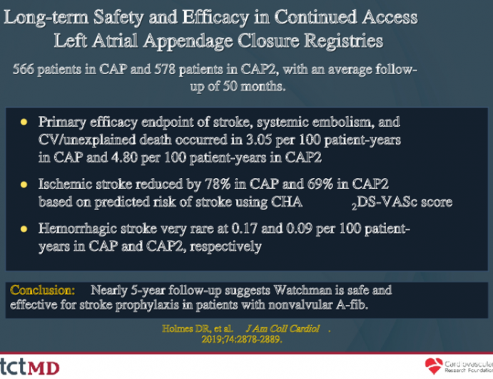 Long-term Safety and Efficacy in Continued Access Left Atrial Appendage Closure Registries
