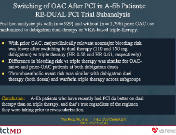 Switching of OAC After PCI in A-fib Patients:RE-DUAL PCI Trial Subanalysis