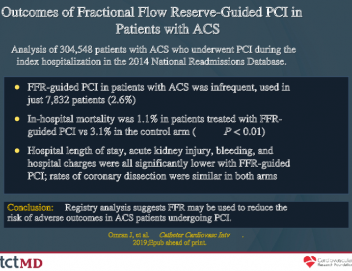 Outcomes of Fractional Flow Reserve-Guided PCI in Patients with ACS