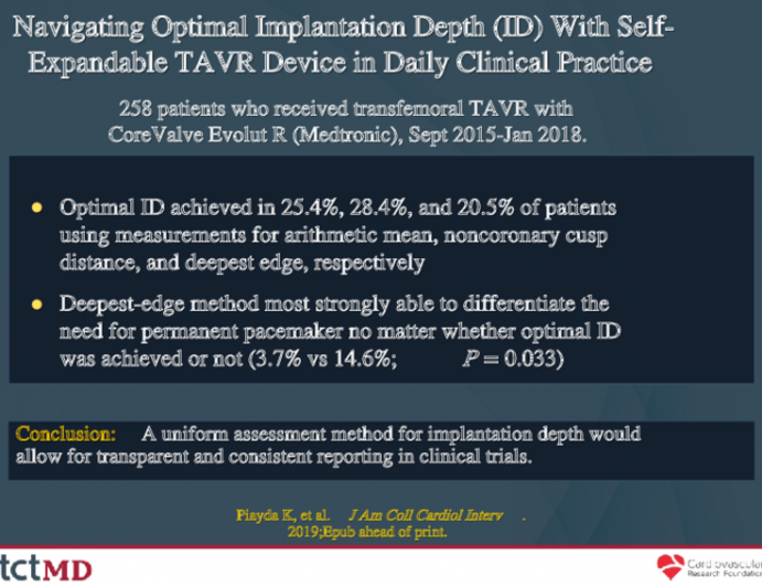Navigating Optimal Implantation Depth (ID) With Self-Expandable TAVR Device in Daily Clinical Practice