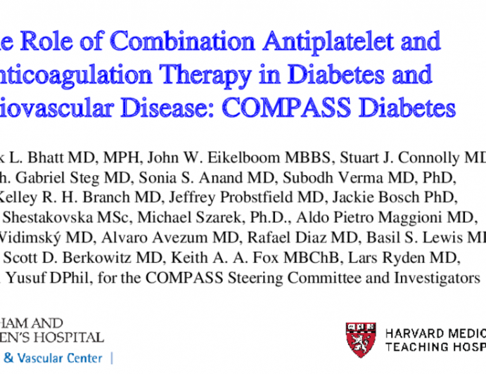 The Role of Combination Antiplatelet and Anticoagulation Therapy in Diabetes and Cardiovascular Disease: COMPASS Diabetes