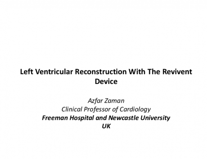 Left Ventricular Reconstruction With The Revivent Device