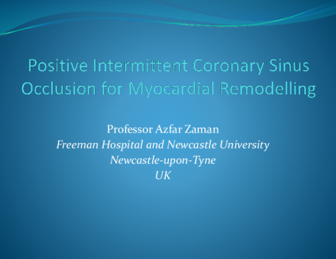 Positive Intermittent Coronary Sinus Occlusion for Myocardial Remodelling
