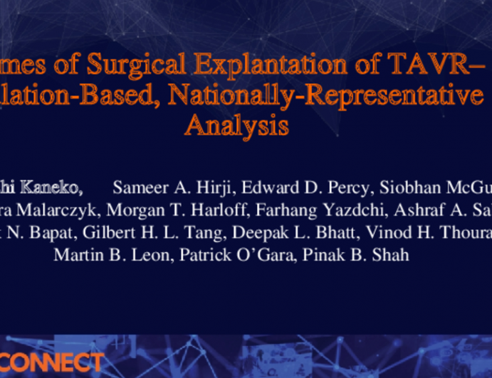 Outcomes of Surgical Explantation of TAVR– A Population-Based, Nationally-Representative Analysis