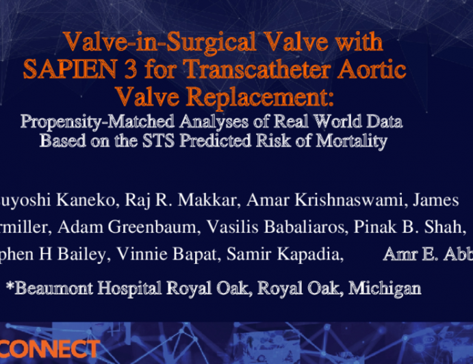 Valve-in-Surgical Valve with SAPIEN 3 for Transcatheter Aortic Valve Replacement:Propensity-Matched Analyses of Real World Data Based on the STS Predicted Risk of Mortality