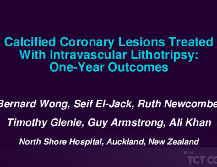 TCT 168: Calcified Coronary Lesions Treated With Intravascular Lithotripsy: One-Year Outcomes