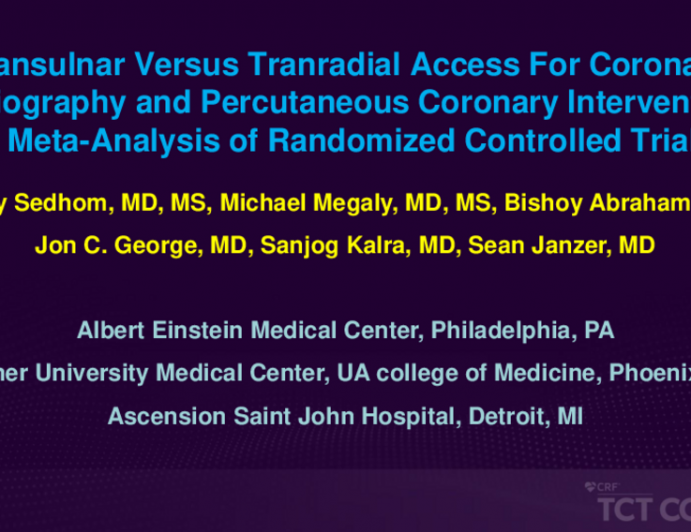 TCT 426: Transulnar Versus Tranradial Access For Coronary Angiography and Percutaneous Coronary Intervention: A Meta-Analysis of Randomized Controlled Trials
