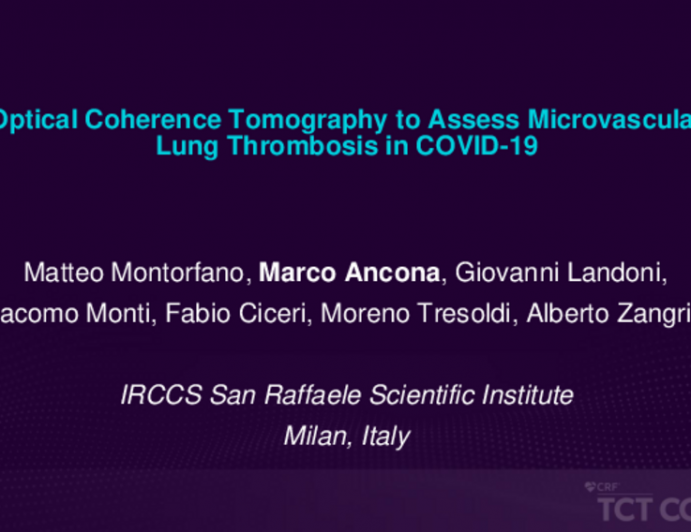 Optical Coherence Tomography to Assess Microvascular Lung Thrombosis in COVID-19