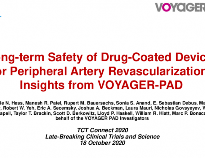 VOYAGER PAD: Long-term Safety of Drug-Coated Devices in Peripheral Artery Revascularization