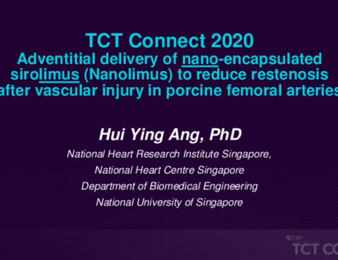 TCT 374: Adventitial Delivery of Nano-encapsulated Sirolimus (Nanolimus) to Reduce Restenosis in Injured Porcine Femoral Arteries
