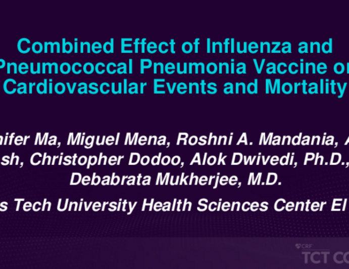 TCT 220: Influenza and Pneumonia Vaccination Effect on Cardiovascular Events