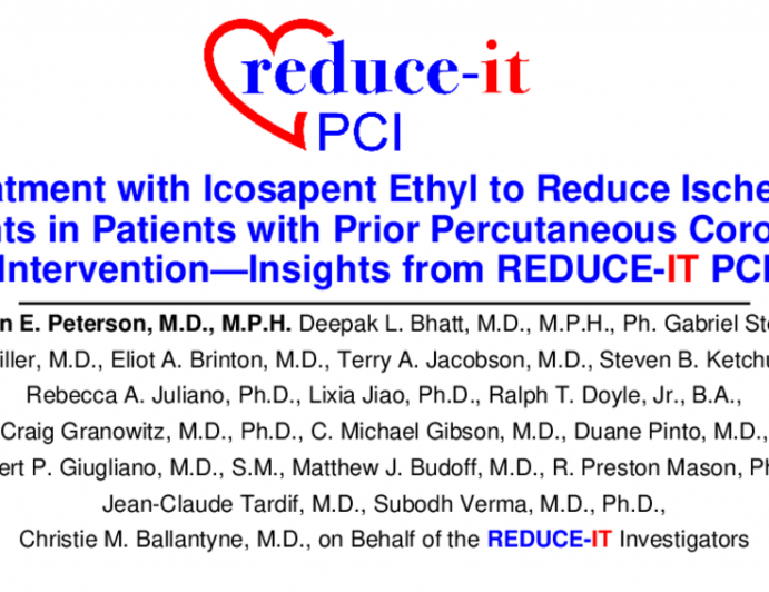TCT ID 3: Treatment With Icosapent Ethyl to Reduce Ischemic Events in Patients With Prior Percutaneous Coronary Intervention – Insights From REDUCE-IT PCI