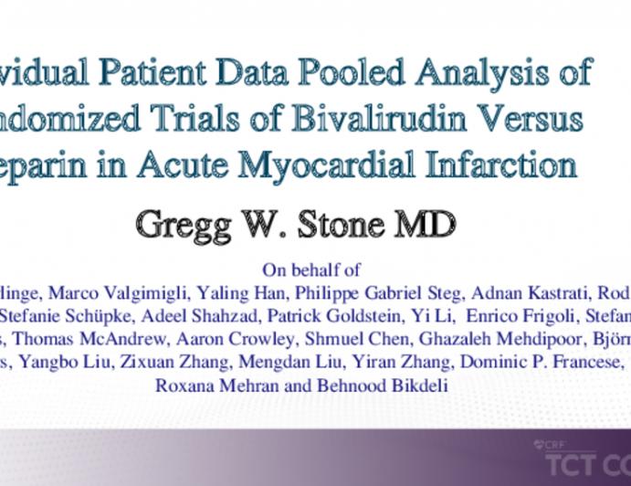 Individual Patient Data Pooled Analysis of Randomized Trials of Bivalirudin Versus Heparin in Acute Myocardial Infarction