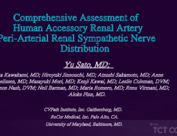 Anatomy of Human Accessory Renal Artery Peri-Arterial Renal Sympathetic Nerve for Renal Denervation