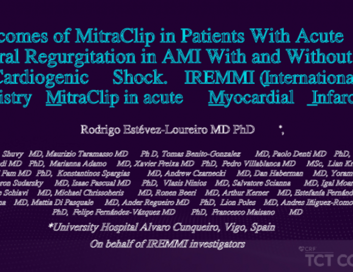 IREMMI: Outcomes of MitraClip in Patients With Acute Mitral Regurgitation in AMI With and Without Cardiogenic Shock. IREMMI (International REgistry MitraClip in acute Myocardial Infarction)