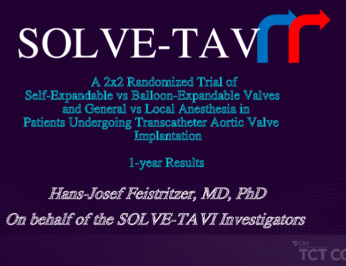 A 2x2 Randomized Trial of Self-Expandable vs Balloon-Expandable Valves and General vs Local Anesthesia in Patients Undergoing Transcatheter Aortic Valve Implantation: 1-year Results