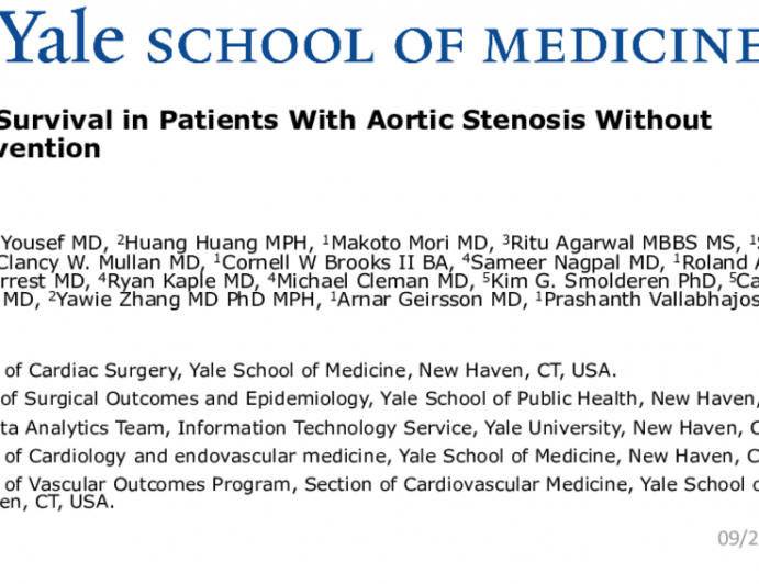 TCT 107: Poor Survival in Patients With Aortic Stenosis Without Intervention