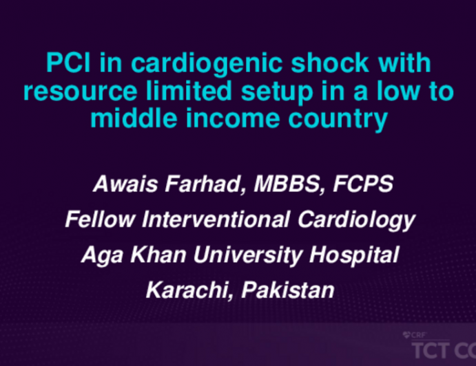 TCT 688: PCI in Cardiogenic Shock With Resource Limited Setup in a Low to Middle Income Country