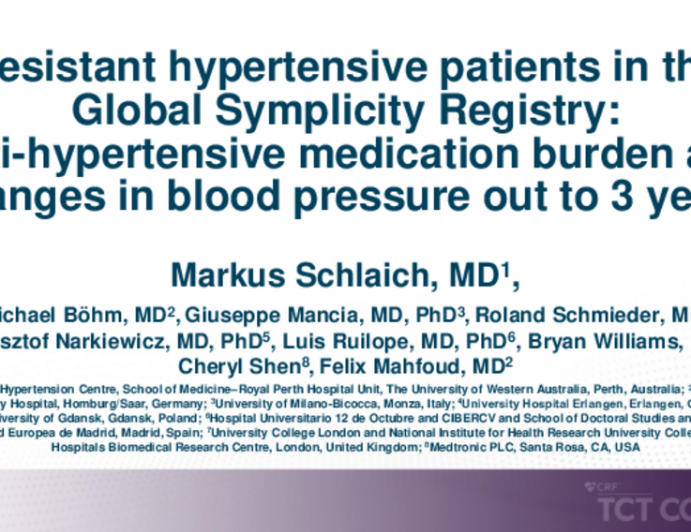 TCT 419: Patients With Resistant Hypertension in the Global SYMPLICITY Registry: Anti-Hypertensive Medication Burden and Changes in Blood Pressure out to 3 Years