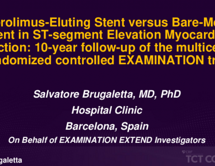 TCT ID 7: Everolimus-Eluting Stent vs Bare-Metal Stent in ST-Segment Elevation Myocardial Infarction – 10-Year Follow-up of the Multicentre Randomized Controlled Examination Trial