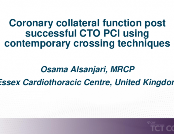 TCT 235: Coronary Collateral Function Post Successful CTO PCI Using Contemporary