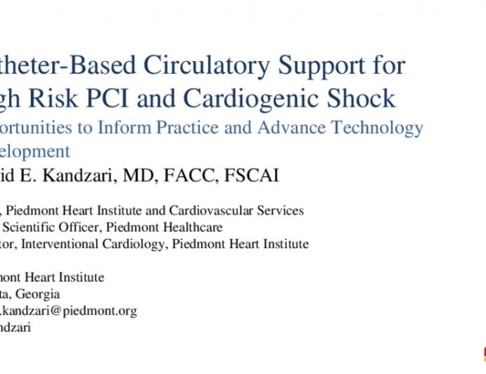Catheter-Based Circulatory Support for High Risk PCI and Cardiogenic Shock