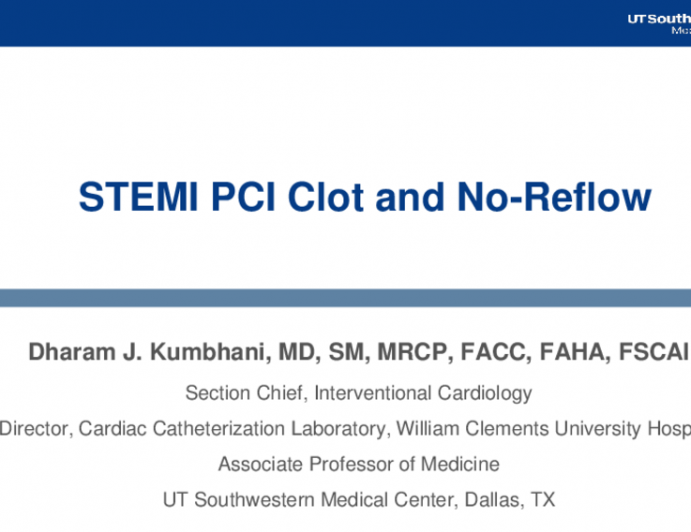 STEMI PCI Clot and No-Reflow