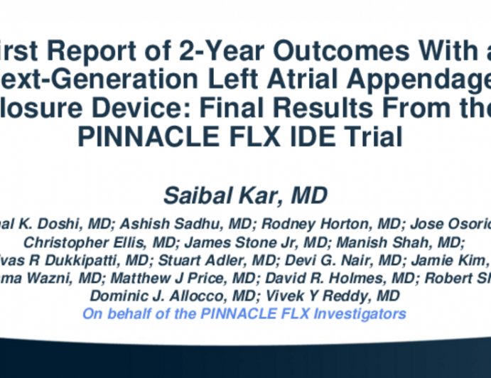 First Report of 2-Year Outcomes With a Next-Generation Left Atrial Appendage Closure Device: Final Results From the PINNACLE FLX IDE Trial