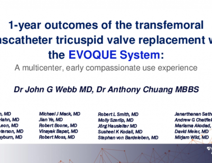 Transfemoral Transcatheter Tricuspid Valve Replacement With the EVOQUE System for Severe Tricuspid Regurgitation: A Multicenter, First-in-Human 1-Year Observation