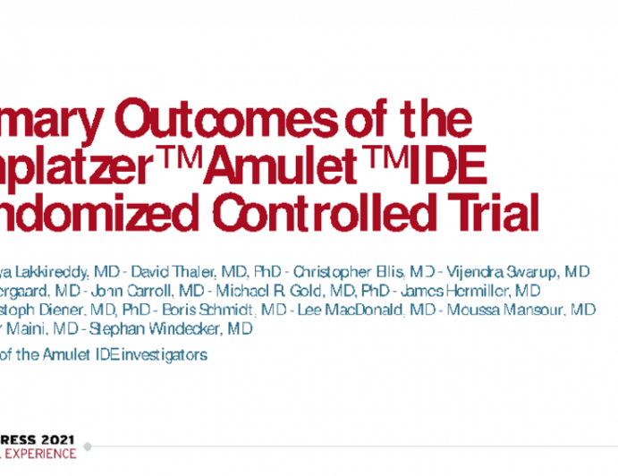 Primary Outcomes of the Amplatzer Amulet IDE Randomized Controlled Trial