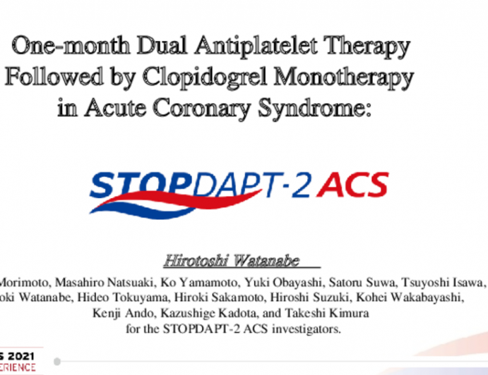 One-month Dual Antiplatelet Therapy Followed by Clopidogrel Monotherapy in Acute Coronary Syndrome: