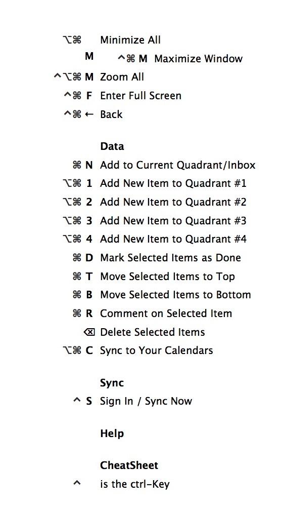Shortcuts for Priority Matrix on Mac « Priority Matrix Help