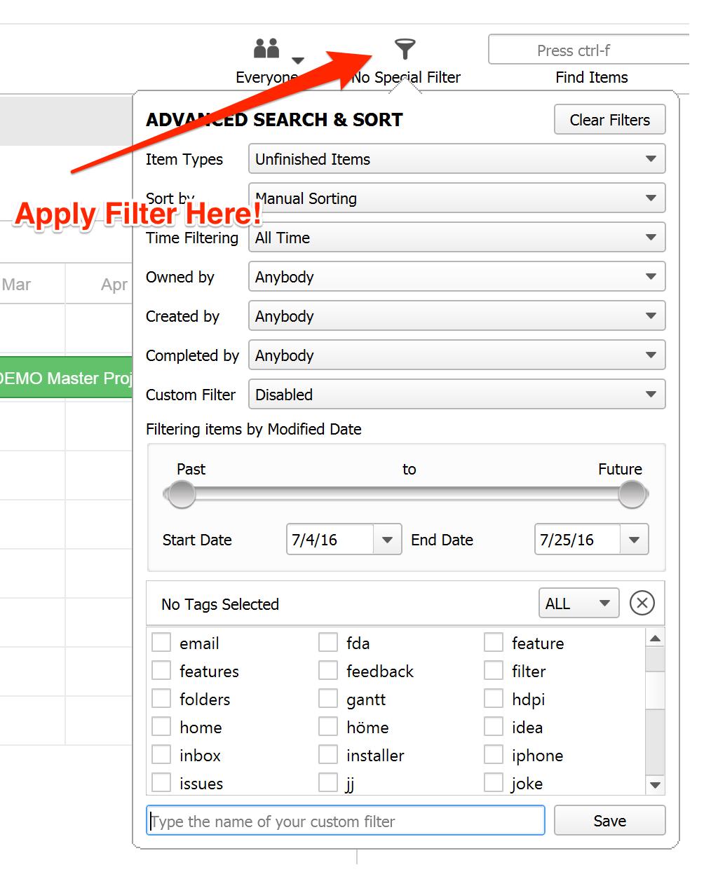 Filter Gantt Chart