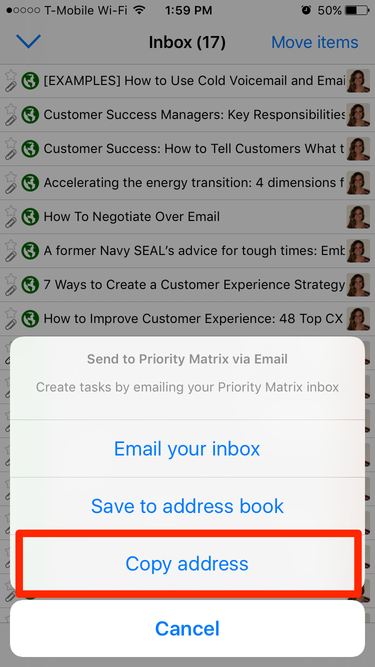 Forward an Email to My Priority Matrix on iPad
