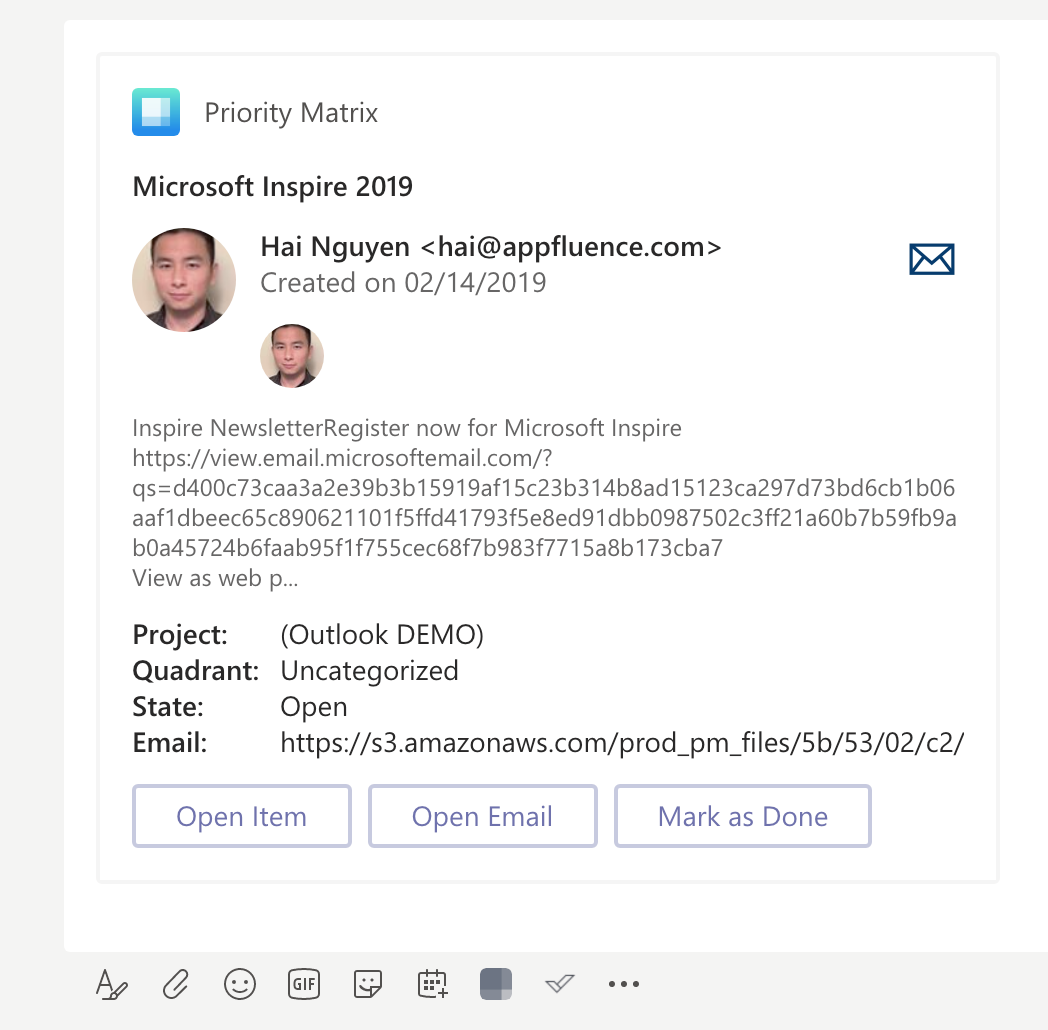 Access Outlook Emails in Microsoft Teams as Action Card