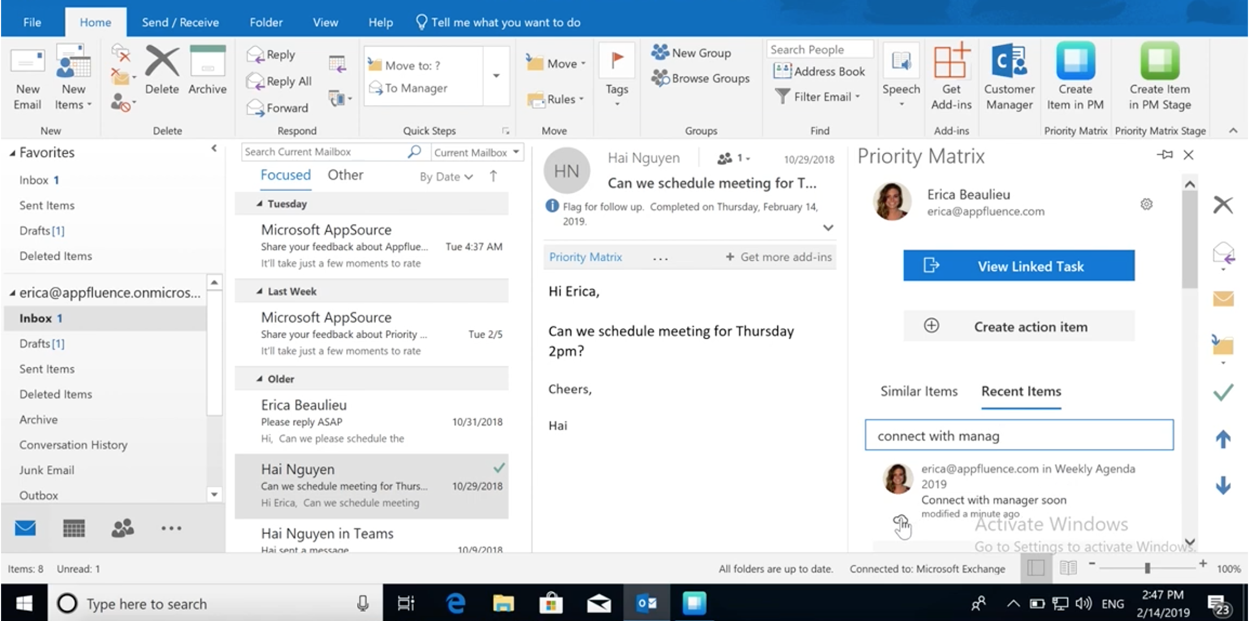 Convert Outlook Emails into Action items and Tasks