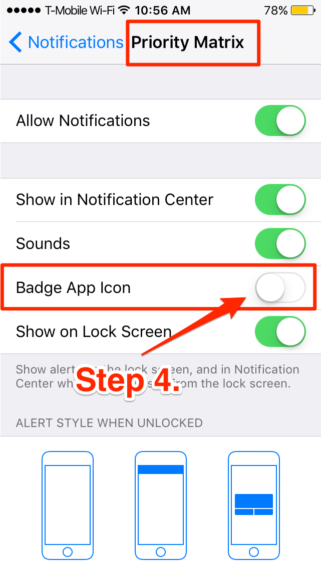 Priority Matrix Badge Notifications