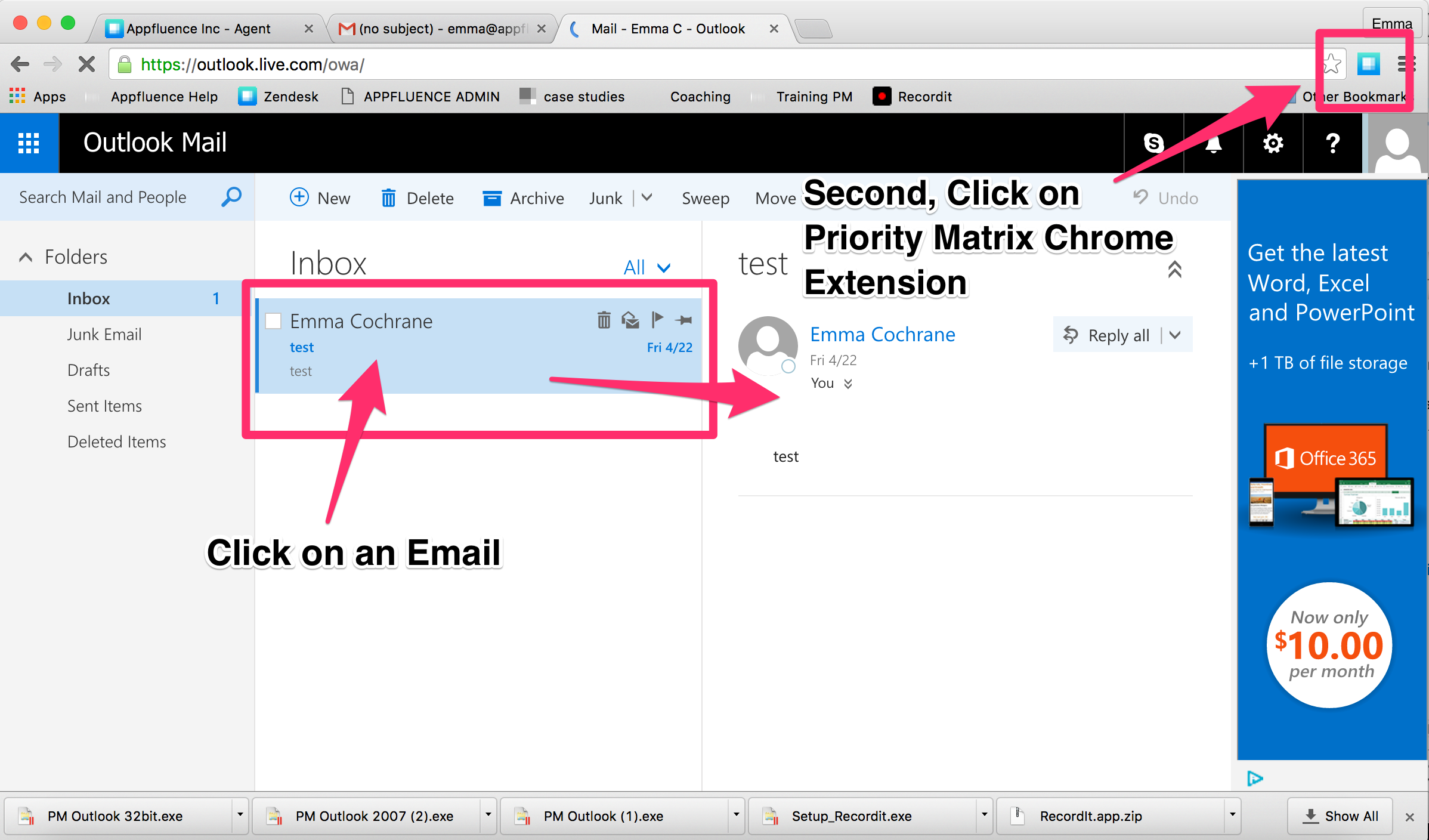 How Can I Use The Google Chrome Extension Like The Outlook Plugin