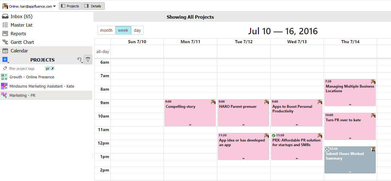 Project Calendar Priority Matrix