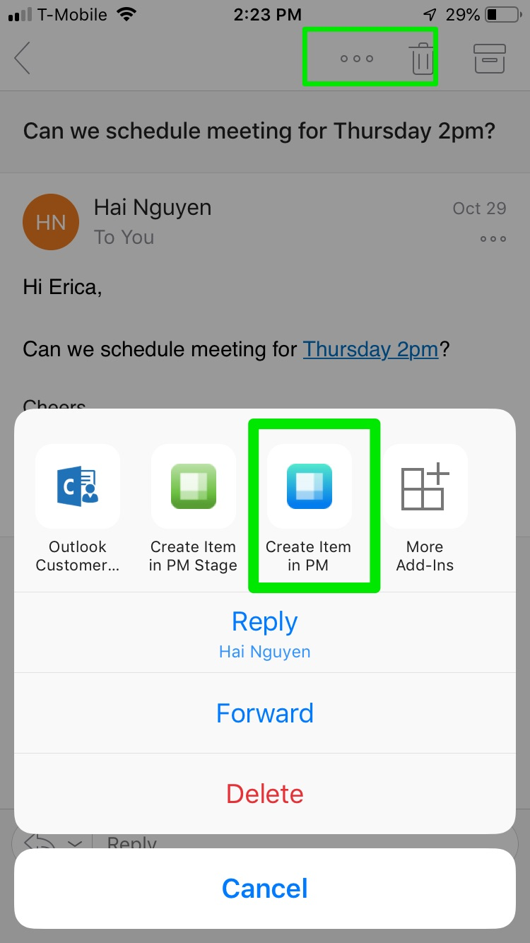 How to integrate Outlook emails with Priority Matrix mobile app