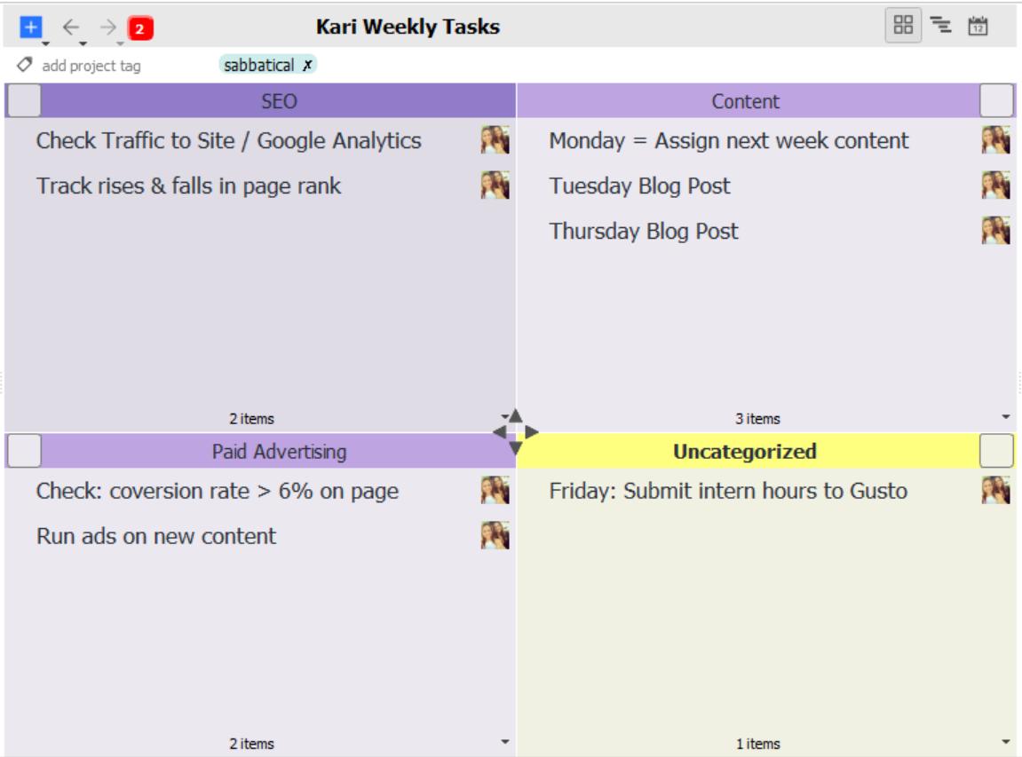 Weekly recurring responsibilities