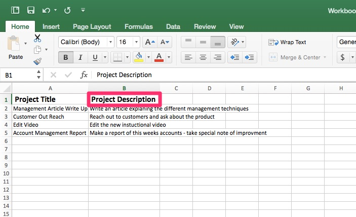 Project Tracking Template Step Three