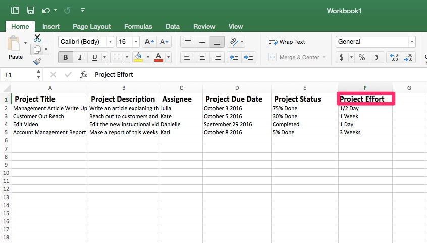 project time tracking template