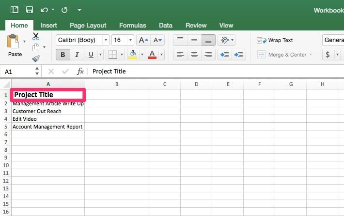 Project Tracking Template Step Two